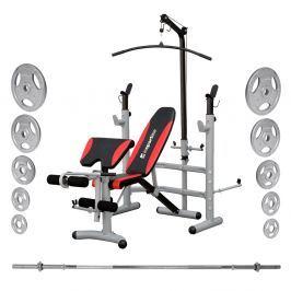 Wielofunkcyjna ławka ze stojakiem inSPORTline Bastet + obciążenie +gryf