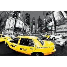 Nowy Jork Godziny Szczytu Times Square Żółte Taxi - plakat