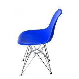 Krzesło P016 PP niebieskie, chromowane n ogi