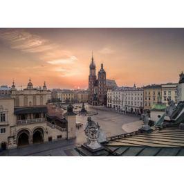 Rynek w Krakowie o wschodzie słońca - plakat premium