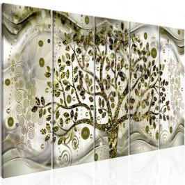 Obraz - Drzewo i fale (5-częściowy) zielony