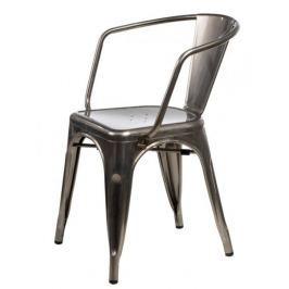 Krzesło Paris Arms w kolorze metalu insp irowane Tolix