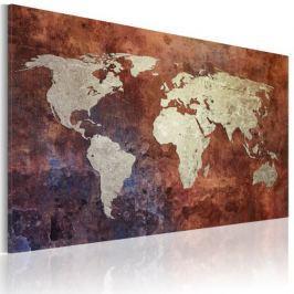 Obraz - Rdzawa mapa świata