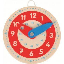Drewniany zegar,  czerwona tarcza