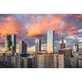Warszawa Wieżowce Warszawskie City - plakat premium