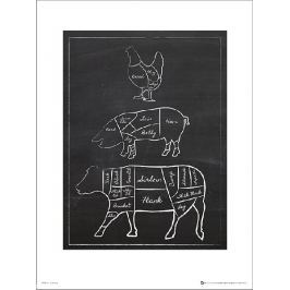 Butchers Cut Chalk Portrait - plakat premium