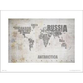 Mapa Świata Rustic - plakat premium
