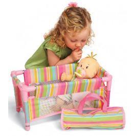 Łóżeczko składane w paski dla lalki Manhattan Toy