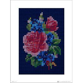 Vintage Cross Stitch Flowers Large - plakat premium