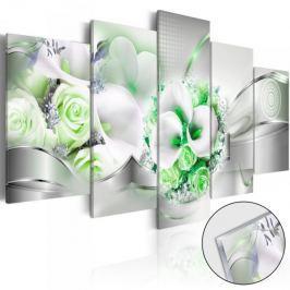 Obraz na szkle akrylowym - Szmaragdowy bukiet [Glass]