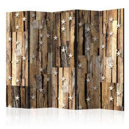 Parawan 5-częściowy - Drewniany gwiazdozbiór II [Room Dividers]