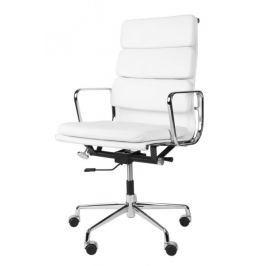 Fotel biurowy CH2191T biała skóra chrom