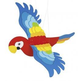 Drewniana dekoracja do zawieszenia 3D, kolorowa papuga