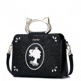 JUST STAR Finezyjna torebka z modnymi uchwytami Czarna
