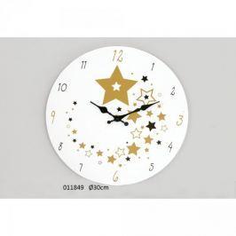 Drewniany zegar ścienny Złote Gwiazdki 30cm