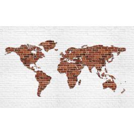 Fototapeta ceglana Mapa Świata flizelinowa