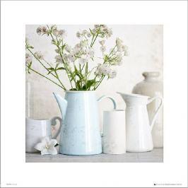 Blue Teapot Flowers - plakat premium