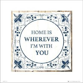 Tile Blue and White Home With You - plakat premium
