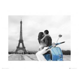 Zakochany Paryż Paris scooter - plakat premium