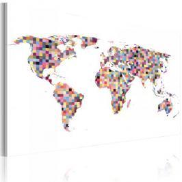 Obraz - Mapa świata - piksele