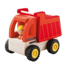 Czerwona ciężarówka z kierowcą