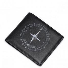SAMMONS Krótki portfel z motywem kompasu Czarny