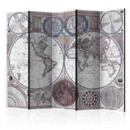 Parawan 5-częściowy - Terraqueous Globe [Room Dividers] Inne dekoracje i ozdoby
