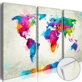 Obraz na szkle akrylowym - Mapa świata: Eksplozja kolorów [Glass] Fototapety
