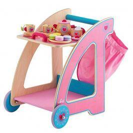 Drewniany wózek z tacą i akcesoriami, Serduszko Rowerki i inne pojazdy dla dzieci