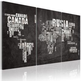 Obraz - Mapa świata (Język hiszpański) - tryptyk Fototapety