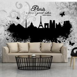Fototapeta - Paris is always a good idea - black and white Fototapety