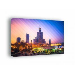 Kolorowa Warszawa Pałac Kultury i Nauki - obraz na płótnie Fototapety