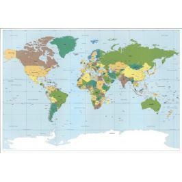 Fototapeta Mapa Świata jednoczęściowa Tapety