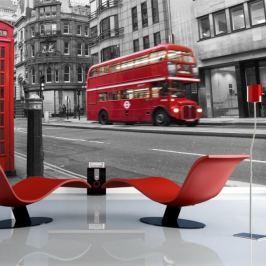 Fototapeta - Londyn: czerwony autobus i budka telefoniczna Fototapety