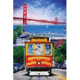 San Francisco Tramwaj i Golden Gate - plakat Fototapety