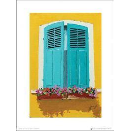 Jean-Marc Janiaczyk Blue Shutters Flowerbox - plakat premium Fototapety