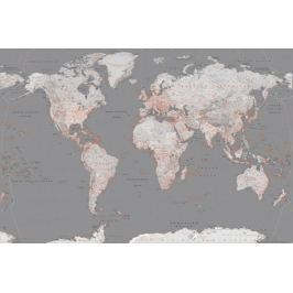 Mapa Świata Srebrno Pomarańczowa - plakat