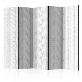 Parawan 5-częściowy - Biały splot II [Room Dividers] Inne dekoracje i ozdoby