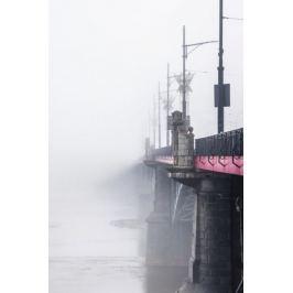 Warszawa Most we mgle - plakat premium Fototapety