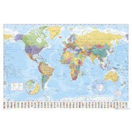 Polityczna Mapa Świata i Flagi - plakat Fototapety