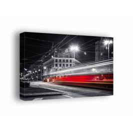 Warszawa Nocne Ulice Mknący Tramwaj - obraz na płótnie Fototapety