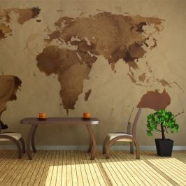 Fototapeta - Herbaciana mapa świata Fototapety