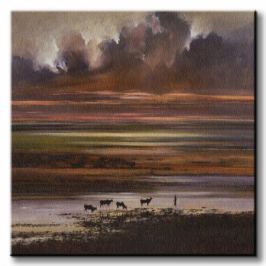 Cattle at Sunset - Obraz na płótnie