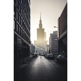 Warszawa Na horyzoncie Pałac Kultury i Nauki - plakat premium