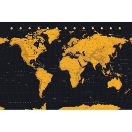 Złota Mapa Świata - plakat