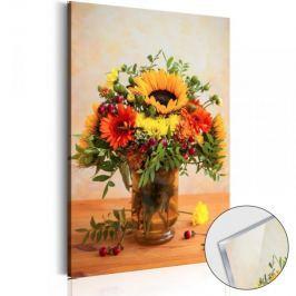 Obraz na szkle akrylowym - Jesienne kwiaty [Glass]