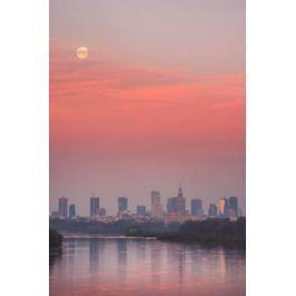 Warszawa Zachodzący księżyc - plakat premium