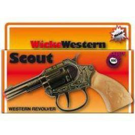 Pistolet NA SPŁONKĘ rewolwer na kapiszony na tasmie metalowy SCOUT