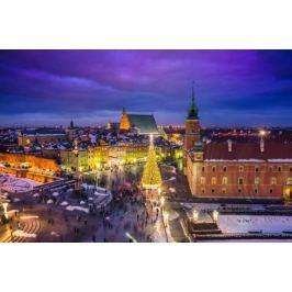 Warszawa Plac Zamkowy zimą - plakat premium