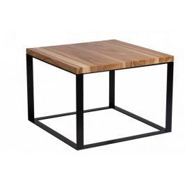 Stolik Square 45x45 czarny płasko. 40 mm blat lakierowany z czereśni naturalny